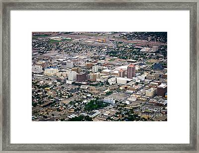 Framed Print featuring the photograph Aerial View Of Albuquerque by Lawrence Burry