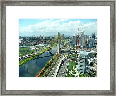 Aerial View Of Bridge Estaiada Framed Print by Felipe Borges
