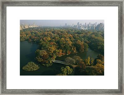 Aerial View Of Central Park Framed Print by Melissa Farlow