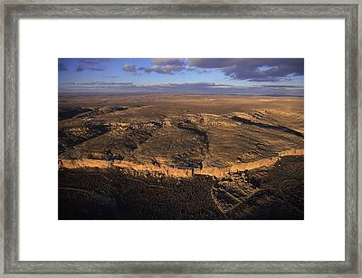 Aerial View Of Chaco Canyon And Ruins Framed Print by Ira Block