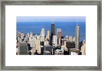 Aerial View Of Chicago Framed Print by Luiz Felipe Castro