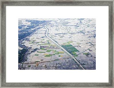Aerial View Of Flooded Farmland Framed Print by Jeremy Woodhouse