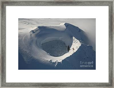 Aerial View Of Frozen Lake In Summit Framed Print by Richard Roscoe