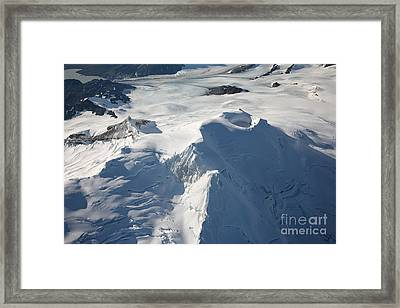 Aerial View Of Glaciated Mount Douglas Framed Print by Richard Roscoe