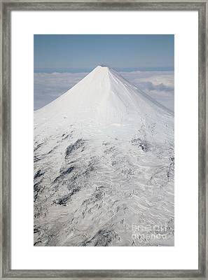 Aerial View Of Glaciated Shishaldin Framed Print by Richard Roscoe