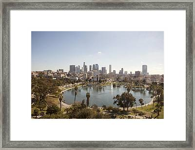 Aerial View Of Lake In Urban Park Framed Print by Cultura Travel/Zak Kendal