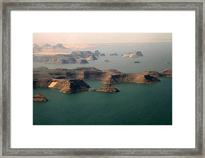 Aerial View Of Lake Nasser, Egypt Framed Print by Joe & Clair Carnegie / Libyan Soup