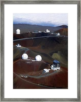 Aerial View Of Observatories At Mauna Kea, Hawaii Framed Print by John Sanford