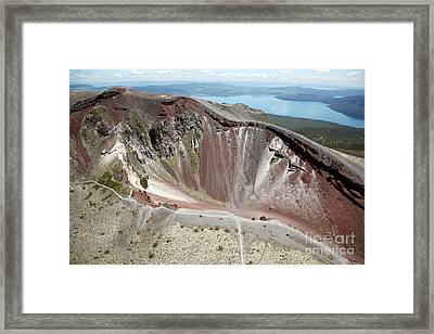 Aerial View Of Rhyolite Dome Complex Framed Print by Richard Roscoe