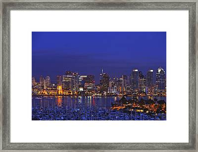 Aerial View Of San Diego Skyline With Framed Print by Stuart Westmorland