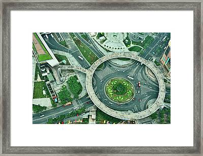 Aerial View Of Shaghai Traffic Framed Print by Ixefra