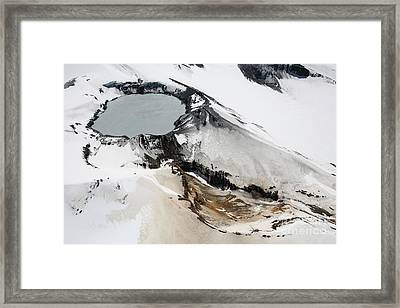 Aerial View Of Snow-covered Ruapehu Framed Print by Richard Roscoe