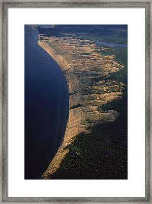 Aerial View Of The Grand Sable Dunes Framed Print by Phil Schermeister