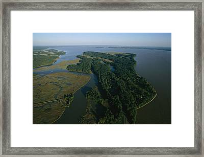Aerial View Of The James River Framed Print by Ira Block