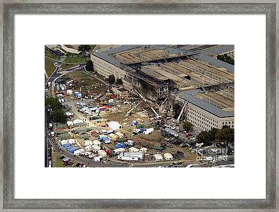 Aerial View Of The Terrorist Attack Framed Print by Stocktrek Images