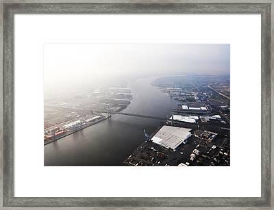 Aerial View Of The Walt Whitman Bridge On The Delaware River Framed Print