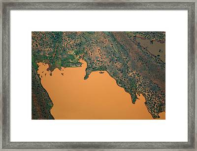Aerial View Of Uncultivated Landscape Framed Print by Tobias Titz