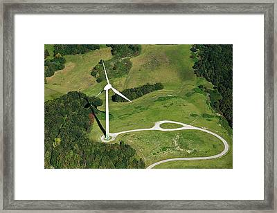 Aerial View Of Wind Turbine Framed Print by Daniel Reiter