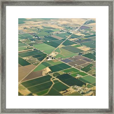 Aerial View Roads In An Agricultural Community Framed Print by Eddy Joaquim