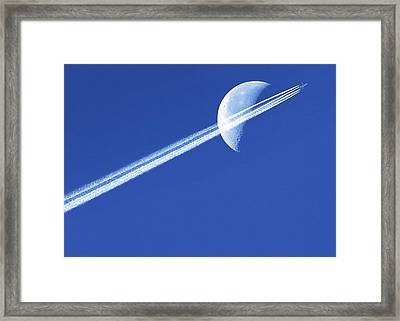 Aeroplane Contrail Against The Moon Framed Print