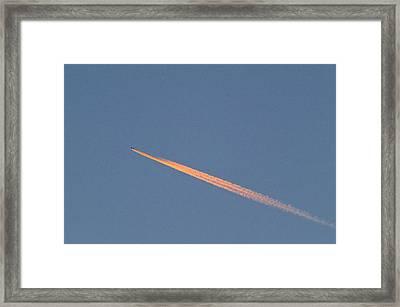 Aeroplane Contrail Framed Print by David Nunuk