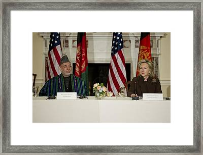 Afghan President Hamid Karzai And Sec Framed Print by Everett