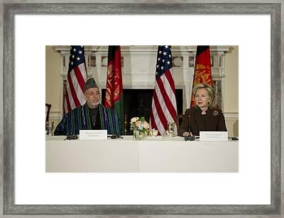 Afghan President Hamid Karzai And Sec Framed Print