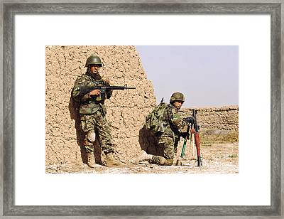 Afghan Soldiers Conduct A Dismounted Framed Print