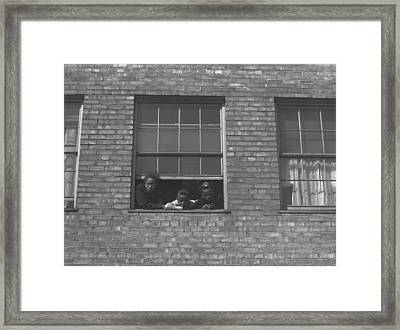 African American Children At Window Framed Print by Everett
