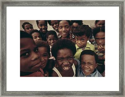 African American Children On The Street Framed Print by Everett