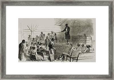African American Freedmen In A Prayer Framed Print by Everett