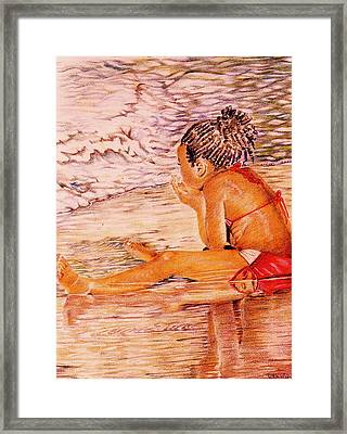 African American Girl On The Beach Framed Print by Candace  Hardy