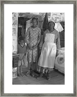 African American Mother With Her Two Framed Print by Everett