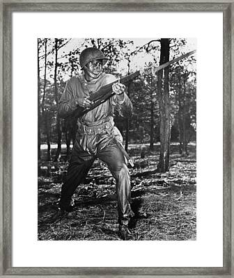 African-american Soldier Charging Framed Print by Everett