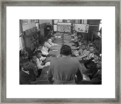 African American Students In A Radio Framed Print by Everett