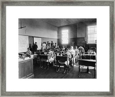 African American Students In Geography Framed Print by Everett