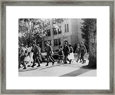 African-american Students Leaving Framed Print by Everett