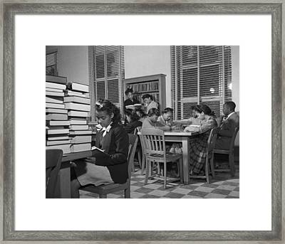 African American Students Reading Framed Print
