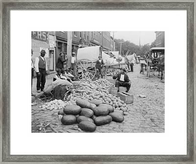African-american Vendors Selling Farm Framed Print by Everett