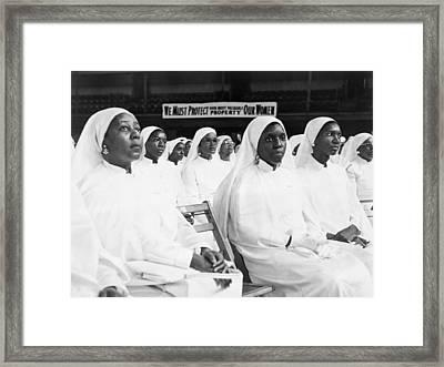 African American Women Dressed In White Framed Print by Everett