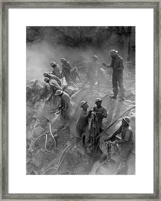 African American Workers Construction Framed Print by Everett