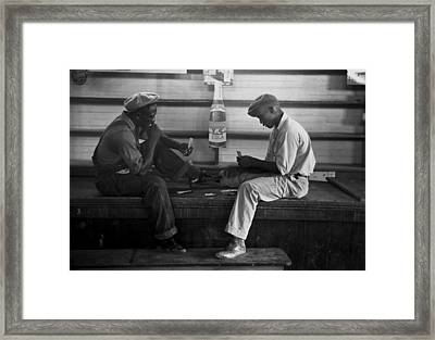 African American Young Men Play A Card Framed Print by Everett