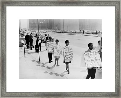 African Americans Protesting Black Framed Print by Everett
