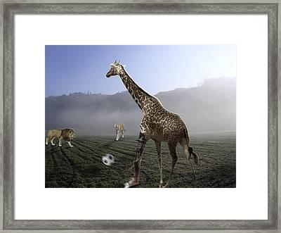 African Animal Soccer Framed Print by Nafets Nuarb