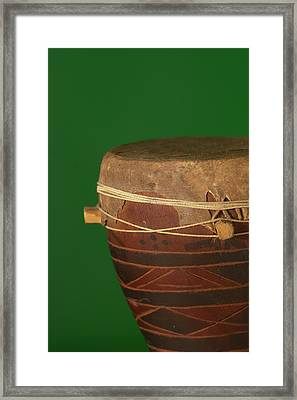 African Drum On Green Backgound Framed Print by Philip Haynes