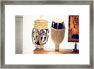 African Drums Framed Print by Val Oconnor