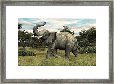 Framed Print featuring the digital art African Elephant by Walter Colvin