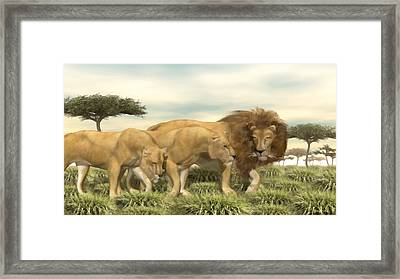 Framed Print featuring the painting African Lion Pride by Walter Colvin