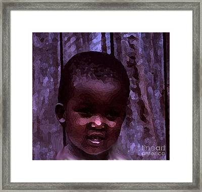 Framed Print featuring the pyrography African Little Girl by Lydia Holly