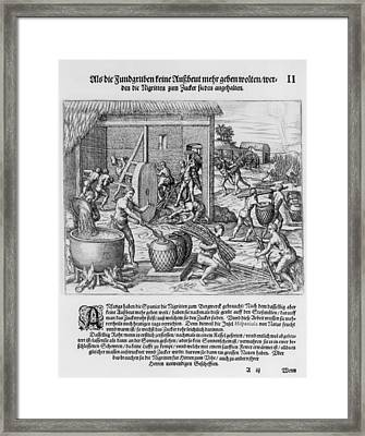 African Slaves Processing Sugar Cane Framed Print by Everett